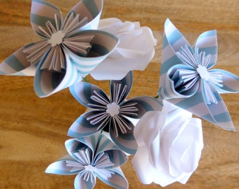 Paper Flower Origami Posy - Striped & White, 6 Flowers