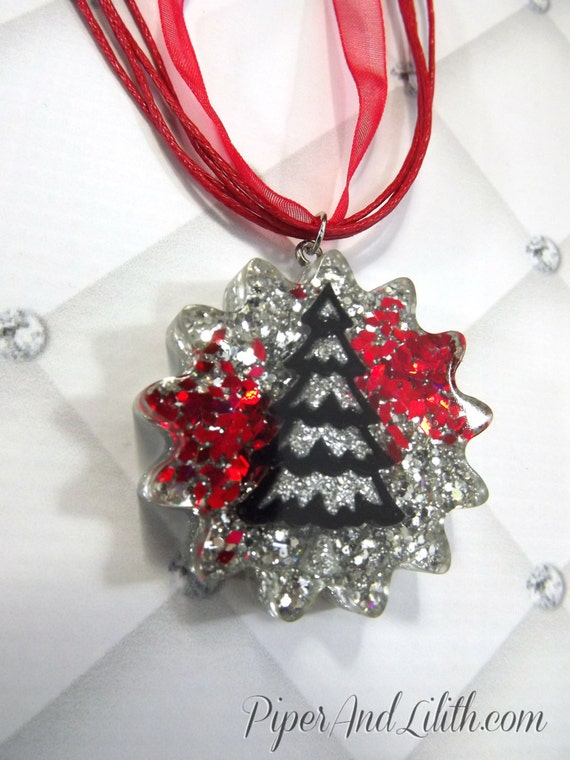 Christmas tree necklace red black and silver by piperandlilith - Black and silver christmas ...