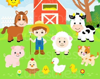 Farm Animal Clipart, Farm Digital Clipart, Farm Clipart, farm clip art, Animal Farm Clipart, Cute farm clipart, barnyard clipart