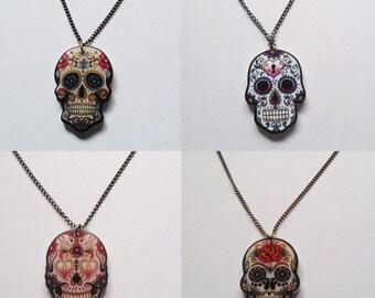 Mexican Day Of The Dead Sugar Skull Los Muertos Summer Festival Necklace Halloween