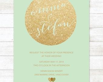 Mint And Gold Wedding Invitation Gold Glitter Hearts Invitation Chic  Printable Modern Glam Digital Wedding Invite