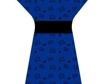 Bespoke 80's BLUE Tech Dress - Custom printed fabric!