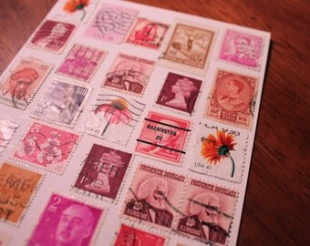 Vintage Postage Stamps Card - Handmade Card and Envelope - Postage Stamp Art - Blank Greeting Card - Postage Stamp Collage Card
