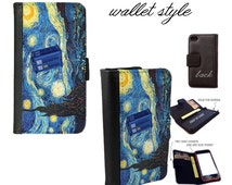 Doctor Who inspired starry night van gogh space tardis flying book wallet folio case for iphone 4 4s 5 5s 5c 6 plus Galaxy S3 S4 S5 Note 3 4