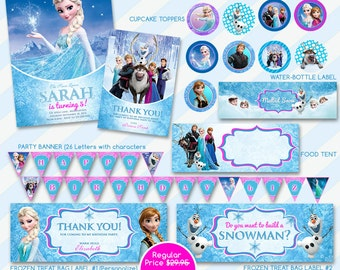50% OFF SALE Frozen Invitation and Thank You Card Birthday Party Package ,Printable Disney theme,Frozen Printable File