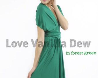 Bridesmaid Dress Infinity Dress Forest Green Knee Length Wrap Convertible Dress Wedding Dress