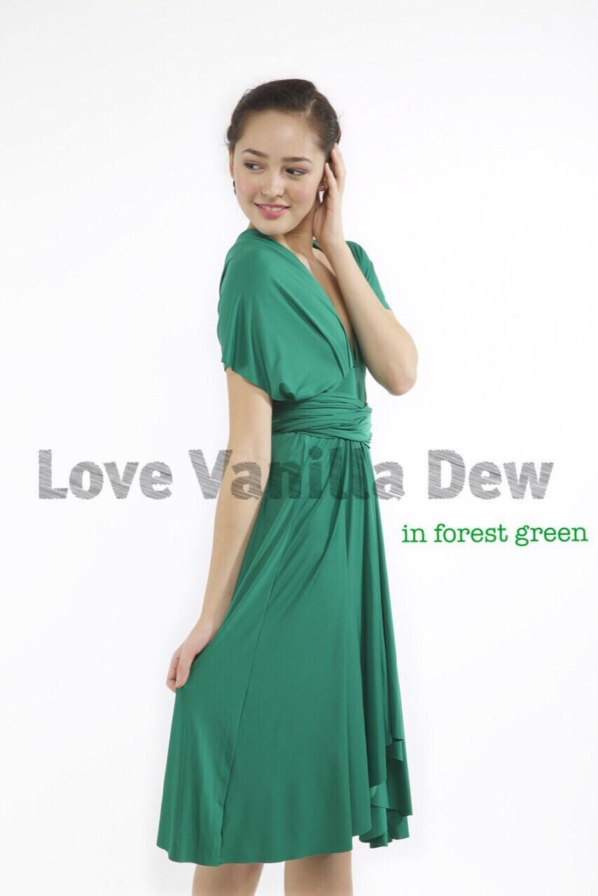 Bridesmaid dress infinity dress forest green knee length wrap for Forest green wedding dress