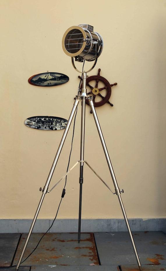 Vintage Chrome Shutter Corner Tripod Floor Lamp for corner sofas, living room lamp, dinning room lamp, study room lamp, Photographers tripod