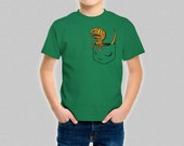Raptor Pocket T-Shirt Kids - Jurassic Park Jurassic World Cute Velociraptor Shirt for Boys or Girls - Dinosaur Pocket Tee Top