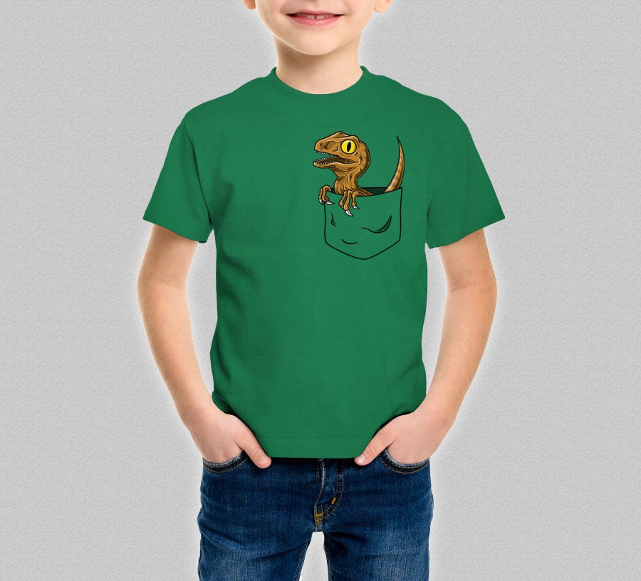 raptor pocket t shirt kids jurassic park jurassic world cute