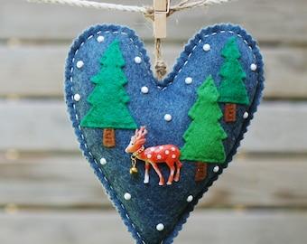 Handmade felt fawn ornament , Felt Christmas heart ornament , Deer decor