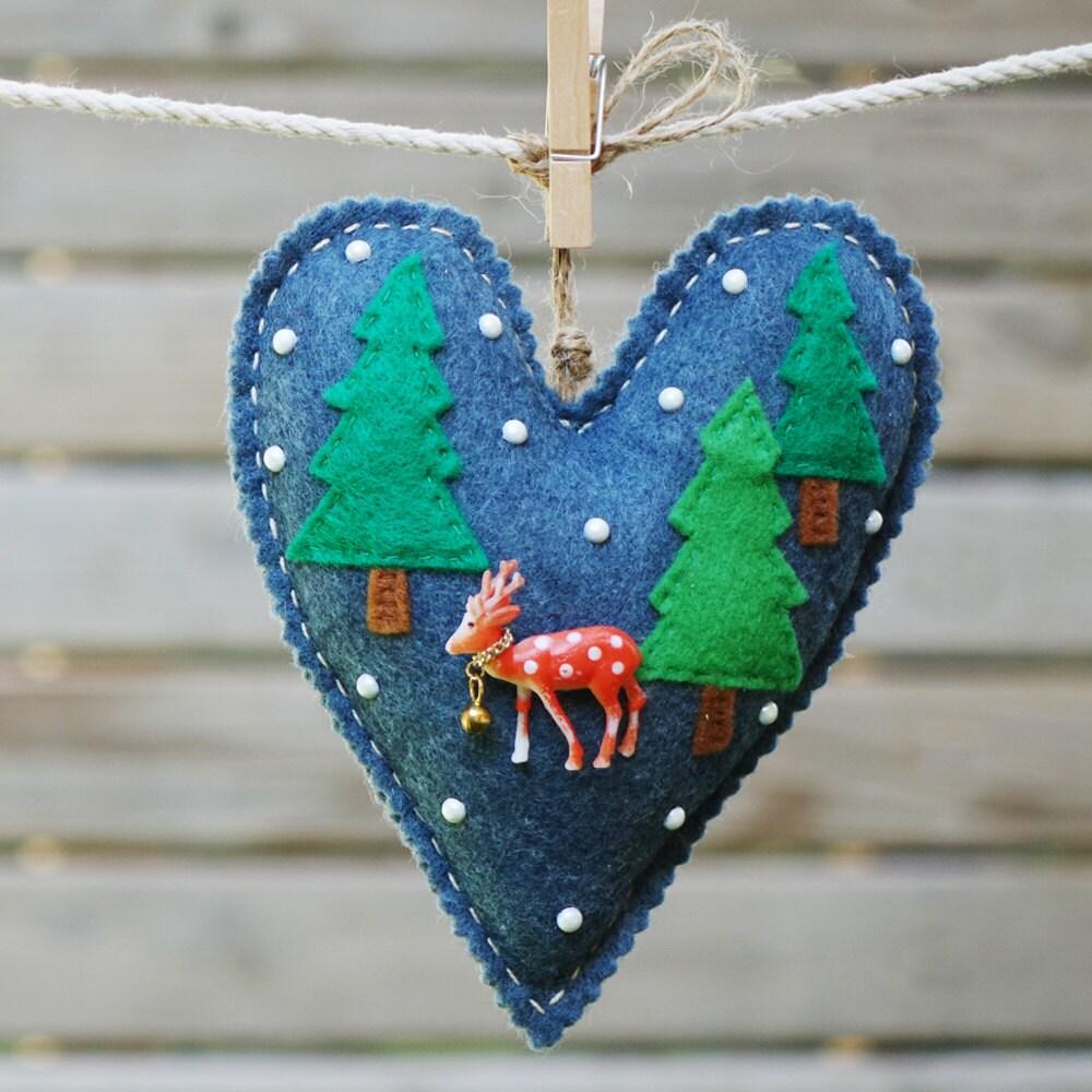 Handmade Felt Fawn Ornament Felt Christmas Heart Ornament