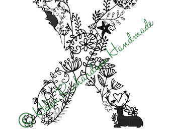 Floral Alphabet letter 'X' paper cutting template for COMMERCIAL USE