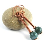 Handcrafted Earrings with Sea Green Fancy Jasper and Copper Tube Beads, Fun Dangle Earrings in Copper with Natural Stone