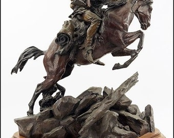 "Bronze Sculpture : Outstanding Bronze Sculpture by Ken Payne (American, 1938-2012), ""Scalps Worth More 'N Pelts"" #358"