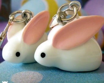 Gifts for Her, Bunny Earrings, Easter Earrings, Rabbit Jewelry, Adorable Hand Painted Resin Charms Earrings!