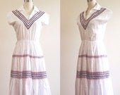White cotton dress- July 4th outfit- Red white blue- Simple dress- Patriotic dress- Ric Rac- 60s dress