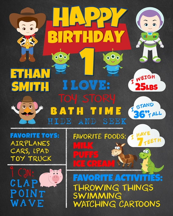 Cool Toys For First Birthday : First birthday chalkboard toy story party woody buzz