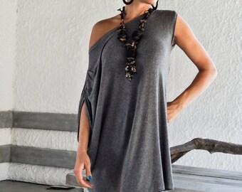 Gray Tunic / Oversized Top / Asymmetric Dress / Loose / Plates Dress / Party Dress / Gray Blouse / Day Blouse / Plus Size Tunic / #35001