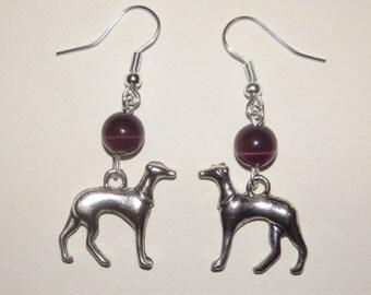 Greyhound Whippet purple catseye earrings