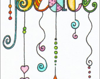 """PEACE - Handcrafted """"WIND CHIME"""" Design Fridge Magnet"""