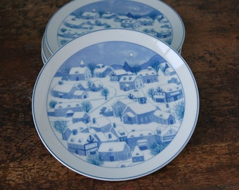 Vintage Plate Lord & Taylor Household Bazaar Made In Japan Japanese Porcelain Design Plates Christmas Theme Snow Village Blue White