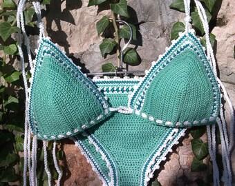crochet bikini Turquoise Green  - Crochet Swimwear Bikini Crochet Beachwear Boho bikini Hippie bikini Brazilian bikini String bikini