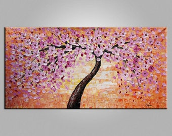 Abstract Oil Painting Canvas Art Framed Art Original Painting Abstract Art Impasto Painting Texture Art Canvas Painting Flower Tree Painting