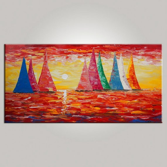 Original Wall Art Oil Painting Sailing Boat Sunrise By