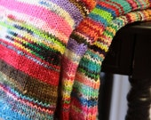 Lap Blanket - Multicolored Chunky Knit Warm Soft Merino Wool Cozy OOAK Afghan Cover Accent Throw