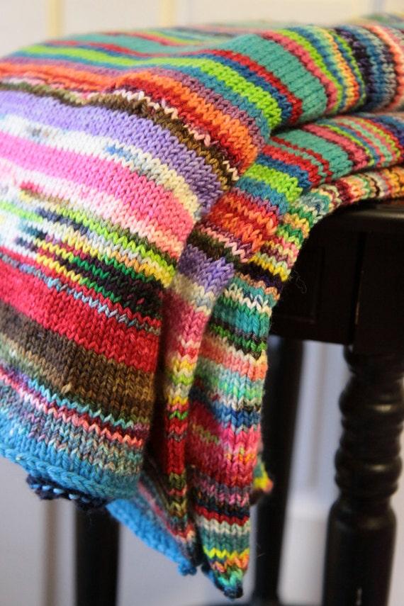Lap Blanket Multicolored Chunky Knit Warm Soft Merino Wool