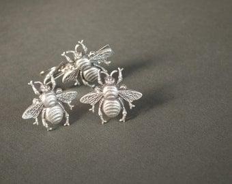 Bee Cufflinks and Tie Clip Men's Cufflinks Large Bee Cufflinks Steampunk Cufflinks Antique Silver Men's Gifts Valentine's Day Gifts