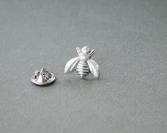 Bee Tie Tack Bee Lapel Pin Bee Gifts Father's Day Gifts Men's Gifts Tie Tack Honey Bee Antique Silver Lapel Pin Gifts for Him