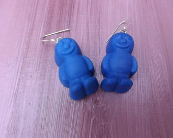 Jelly baby earrings, fimo earrings, blue earrings, fun earrings, chunky earrings, and sterling silver earwires