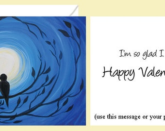 VALENTINE'S DAY CARD designed by artist Nicole Troup, standard or personalized message, two birds in moonlight, moonlit lovebirds, lovebirds