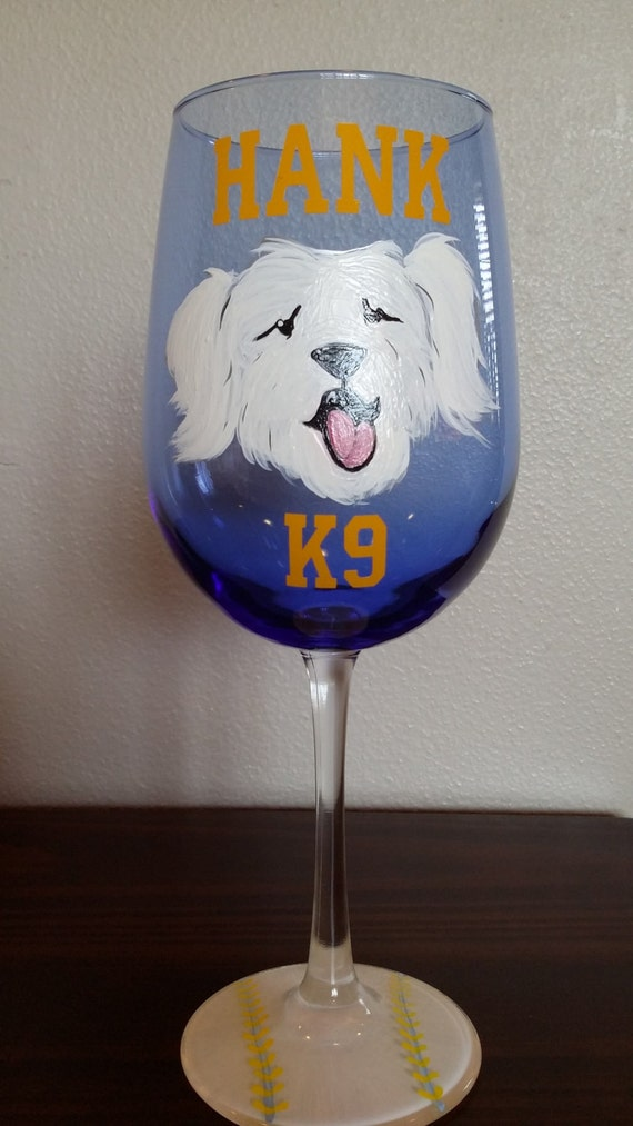 milwaukee brewer wine glass hank k9 painted