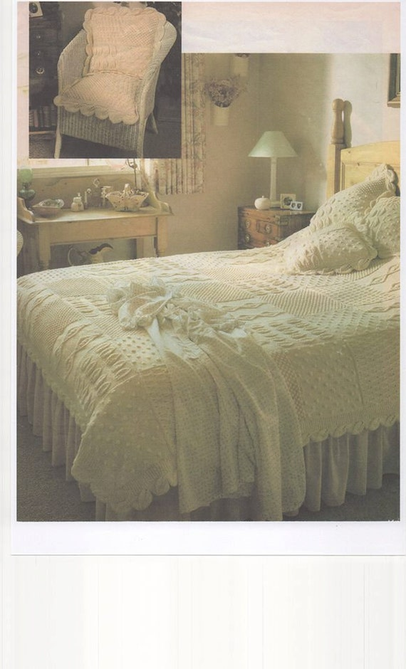 Knitted bedspread knitted bed throw aran knitting for Studio one bed cover