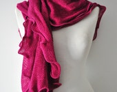 Ruffle Knit Scarf, Magenta Scarf, Ruffle Scarf, Magenta Crochet scarf, Wave Scarf, Elegant scarf,Fashion Accessories, Gift for Christmas