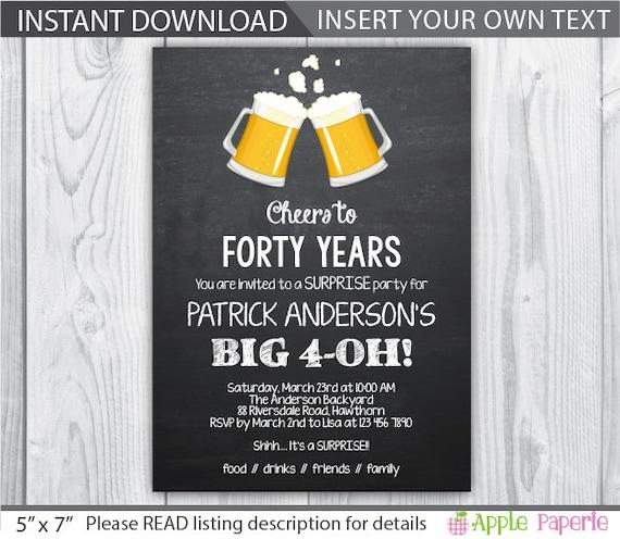 Items Similar To 40th Birthday Invitation / 40th Birthday