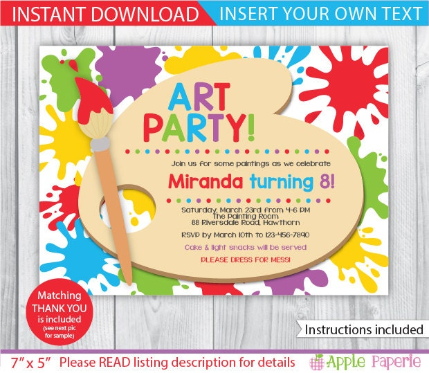 Art Party Printable / Art Party Invitation / Kids Art Party
