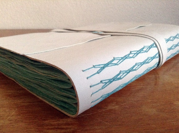 White Leather Journal Sketchbook Pages Dyed With Blue Acrylic