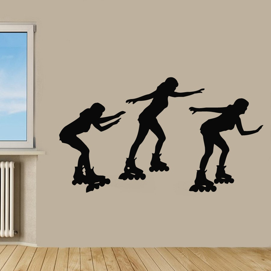 Roller skate wall decals woman skating three sport girls vinyl zoom amipublicfo Images