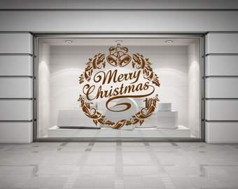 Merry Christmas Wreath with Holly and Bells, self adhesive vinyl decal sticker for walls, windows, mirrors, doors, shopfronts and more.(#60)