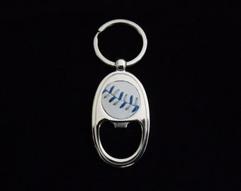 Baseball Keychain- Blue/Gray Stitches Limited Edition- Bottle Opener
