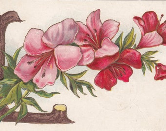 """1908 Large Wood Letter """"L"""" With A Spray Of Flowers Embossed Alphabet Postcard"""