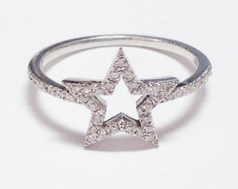 0.20CT Diamond Star Ring Right Hand Band Anniversary Bands Promise Rings Available in Platinum, 18K, 14K White Gold, Rose Gold, Yellow Gold