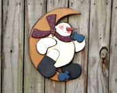 Country Primitive Snowman - Handmade - Wood - Wall Hanging - Home Decor - OFG, FAAP
