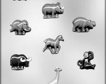 Zoo Animal Assortment Chocolate Candy Mold Jungle Soap Plaster
