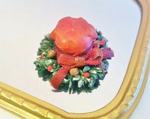 1:12 dollhouse Christmas wreath candle / miniature Dollhouse Christmas centerpiece candle / Christmas miniatures scale 1/12 decorations