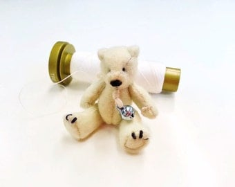 Miniature felted teddy bear / 1:12 dollhouse miniature teddy bear / collectible miniature toys / scale one inch artist OOAK teddybear